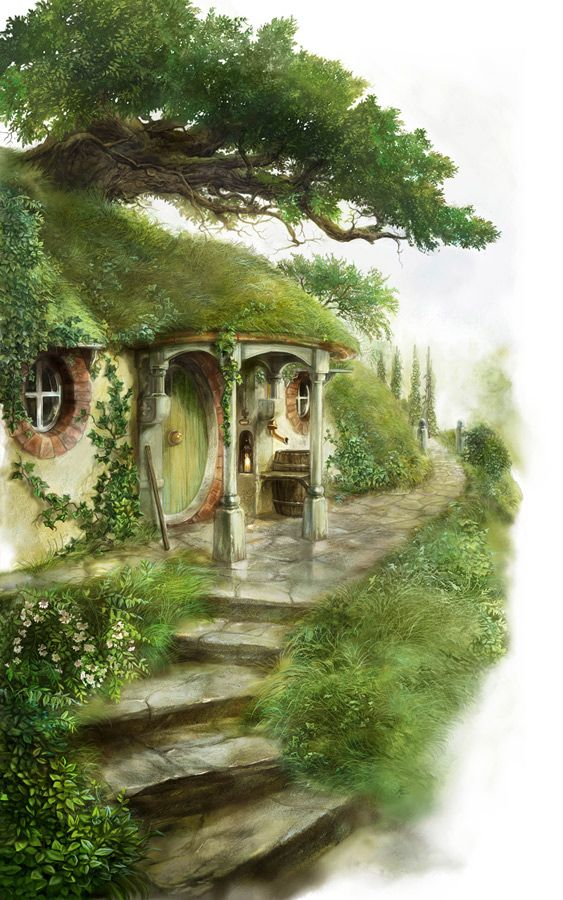"John Howe, Bag end ""Ho! Ho! Ho! To the bottle I go To heal my heart and drown my woe Rain may fall, and wind may blow And many miles be still to go But under a tall tree will I lie And let the clouds go sailing by"" ― J.R.R. Tolkien"