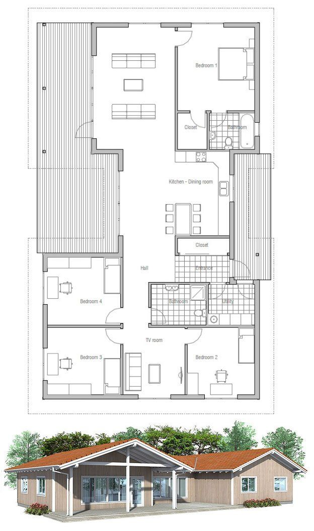 74 best house idea images on Pinterest House template, Small - plan maison plain pied 80m2