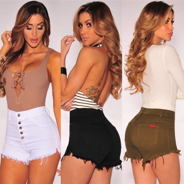 QA850 Vintage solid elastic women denim shorts slim fashion high waist jeans black white pocket short femme #Affiliate