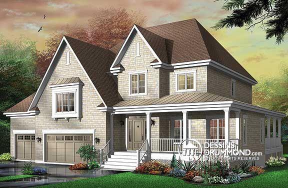 Plan de Maison unifamiliale W3423, Réalisé dans une pensée davantage américaine qu'européenne, ce cottage nous suggère donc des attributs qui en font foi dont un garage triple, des galeries couvertes ainsi que de bien confortables espaces intérieurs.