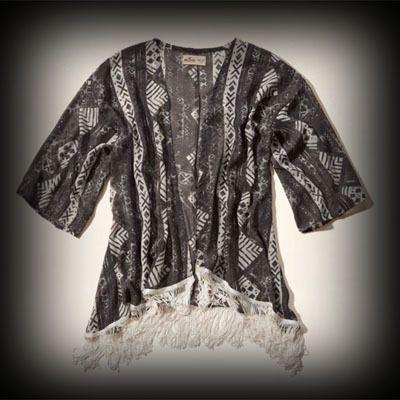 ホリスター レディース Tシャツ Hollister Stands Point Chiffon Kimono チュニックシャツ★透け感があり涼しげでかわいい。 ★ポリエステル-100% で肌ざわり着心地バツグンのニットTシャツ!