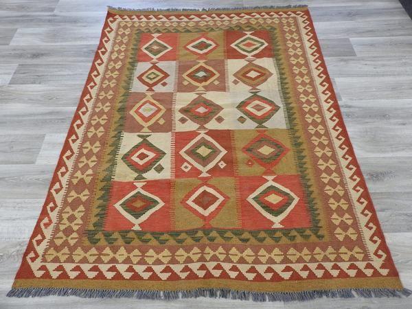 Afghan Wool Choubi Kilim Rug, Size: 198 x 155cm, Hand Spun Wool / Flat Weave, excellent Condition, Origin Afghanistan