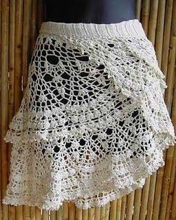 Patrón con esquema (dibujo) de falda a ganchillo