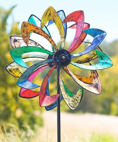 Rainbow Solar LED Flower Wind Spinner Garden Stake