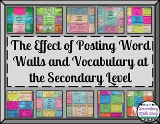 The Spectacular World Of Secondary Math: The Effect of Posting Word Walls and Vocabulary at the Secondary Level