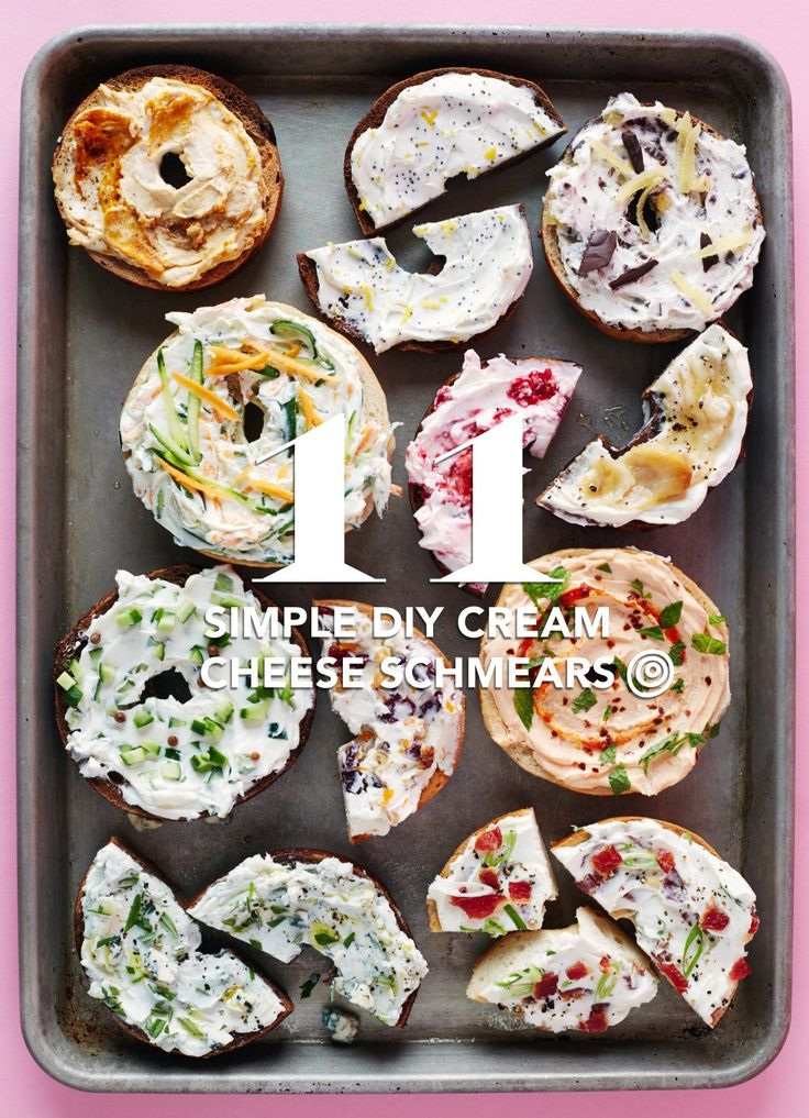Plain cream cheese is delicious, but why not get a little creative with your breakfast or lunch bagel toppings? Here we have 11 recipes to turn plain cream cheese into a schmear you'll love. We're not just talking about run-of-the-mill cream cheese flavors like scallion or strawberry — these 11 unique mix ins start with pumpkin, progress to pickle, and close with chocolate.