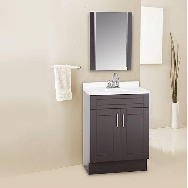 Gabinete dos puertas color chocolate. Manijas níquel cepillado. Lavabo resina color blanco espejo biselado de 71 por 55 cm
