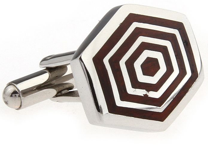 These premium cufflinks feature concentric hexagons of stainless steel and polished rosewood. This eye-catching design is sure to help you stand out from the crowd. Not just for the office, these cufflinks are equally at home at formal functions, a night out with friends, or even as elegant accessories at a wedding.