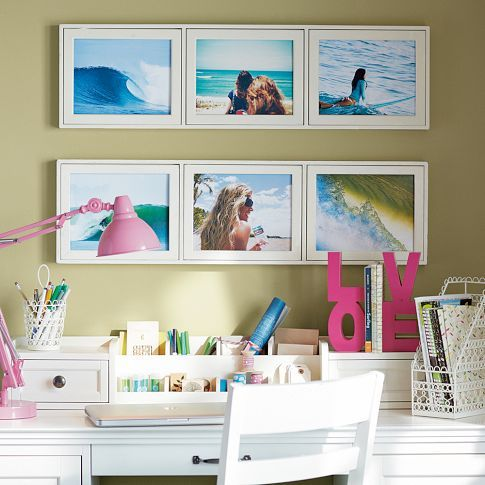 Teenage Girl Bedroom - It seems too small of a space for an office, but would be perfect for a teenager to do their school work and frame a few personal photos above, as shown