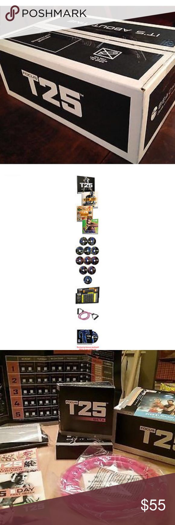 Focus T25/ Shaun T Beach body Focus T 25 by Fitness Guru Shaun T. COMPLETE workout set. BRAND NEW/ FACTORY SEALED BOX. 25 Minutes. 5 Days a Week. 100% Results. Summer's almost here. The time is NOW! Accessories