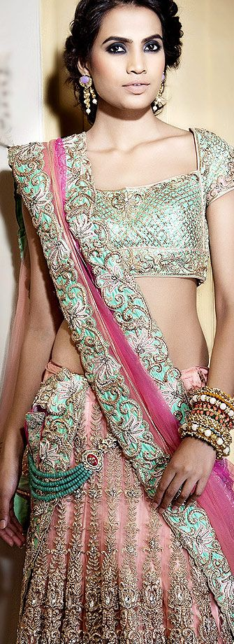pastel lengha saree. Indian clothes. Indian wedding lehenga http://www.pinterest.com/bmenra/she-is-gorgeous-fashion/