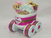 """Windeltorte - Kinderwagen """"Prinzessin"""" + Bär pink"""