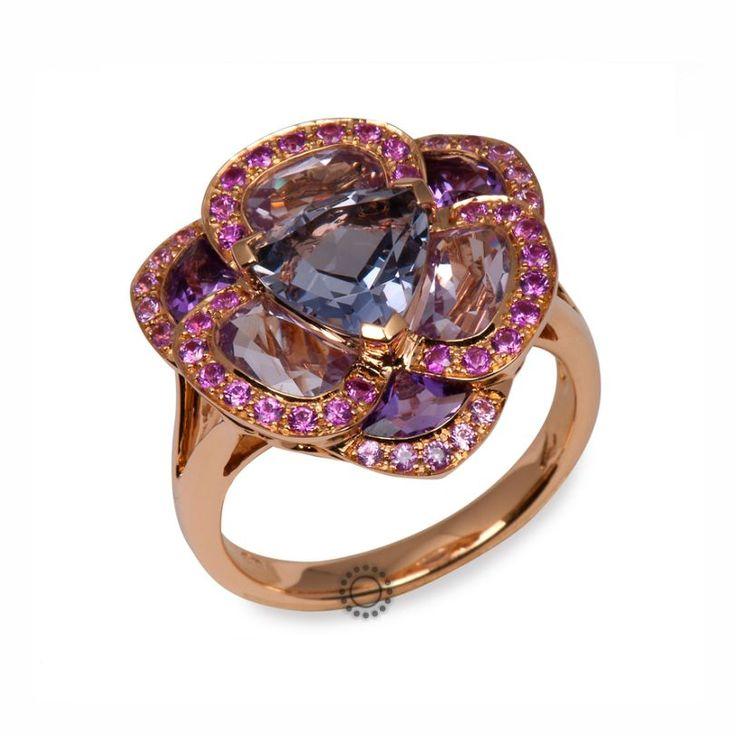 Πολύ εντυπωσιακό πολύτιμο δαχτυλίδι από ροζ χρυσό 18 καρατίων με ιολίτη, αμέθυστους & ροζ ζαφείρια   Δαχτυλίδια με ορυκτές πέτρες ΤΣΑΛΔΑΡΗΣ Χαλάνδρι #αμέθυστος #ζαφείρια #δαχτυλίδι #rings #jewelry