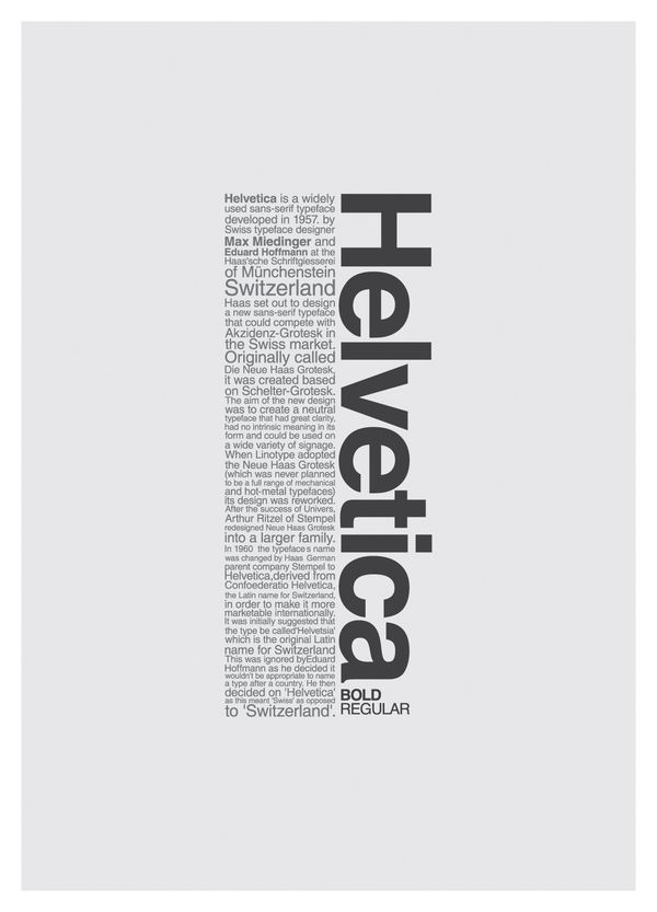 This is a good example of Contrast by having a vast difference in size of font plus a change in direction. ///HELVETICA POSTERs/// on Wacom Gallery