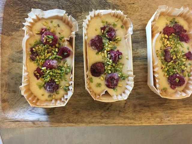 Fondant framboises au mascarpone & éclats de pistaches