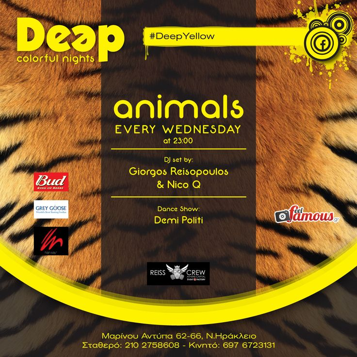 #DeepYellow ~ Animals Party every Wednesday ~ A Party with Guest DJ Giorgos Reisopoulos