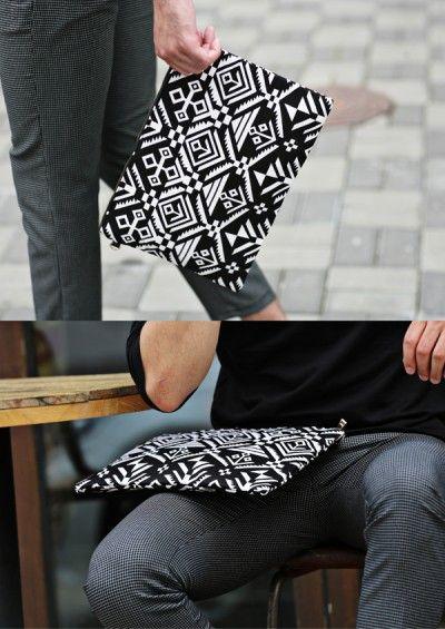 Black Ethnic Patterned Clutch Bag
