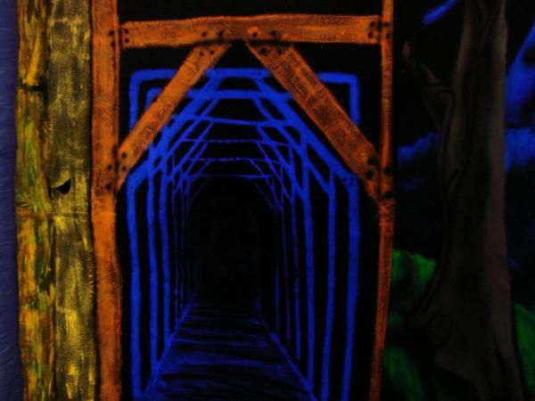 Terra's blacklight tunnel, Chromadepth paint  I totally love this will use it next year haunt 2014