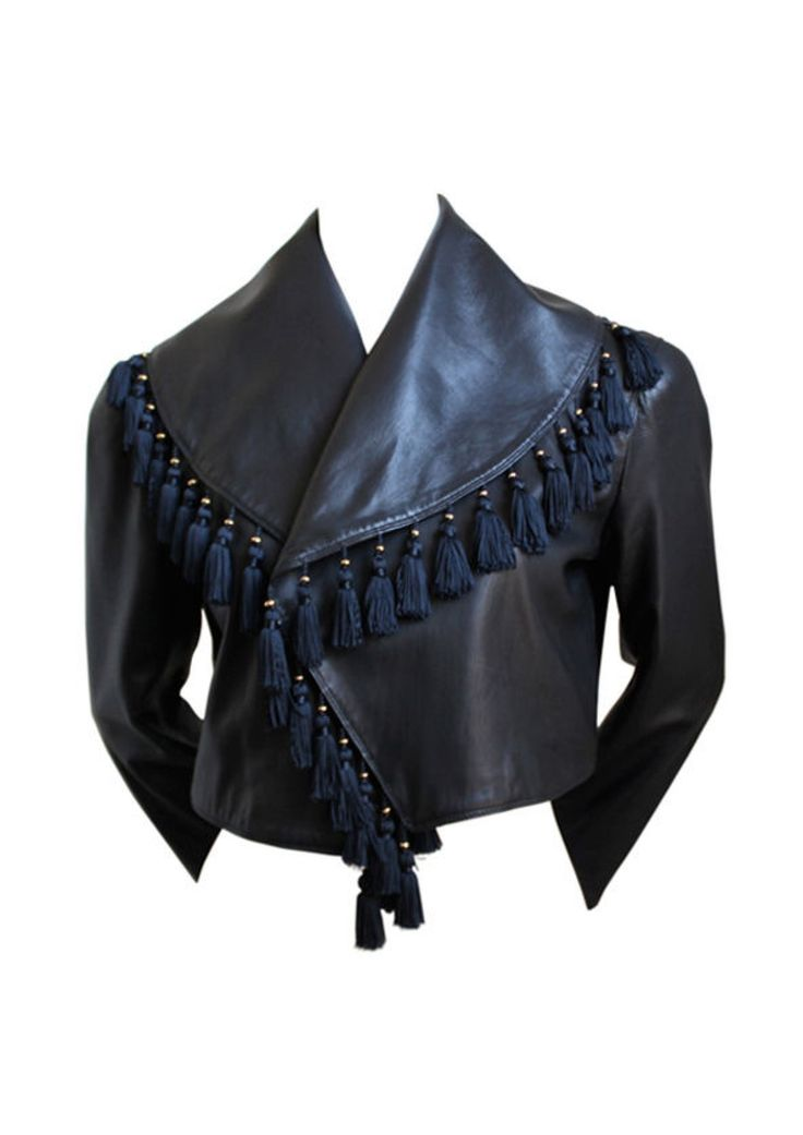 Versace Black Leather Jacket With Tassel Embellished Collar - 1980s via House of Pre-Loved - Vintage Boutique. Click on the image to see more!