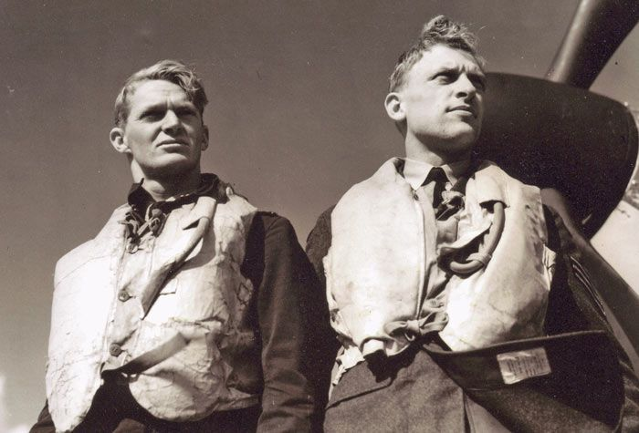 "Posing for the benefit of the camera are F/O Francis N ""Fanny"" Brinsden (left) and Sgt Bernhard J ""Jimmy"" Jennings of No 19 Squadron RAF at RAF Fowlmere in September 1940. Brinsden won his first combat victories providing air cover to the evacuations at Dunkirk."