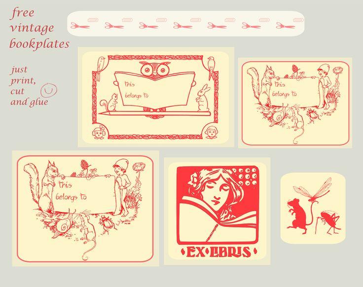free printable vintage book tags for kids and students – Vintage Buchetiketten für Kinder und Schüler – freebies | MeinLilaPark