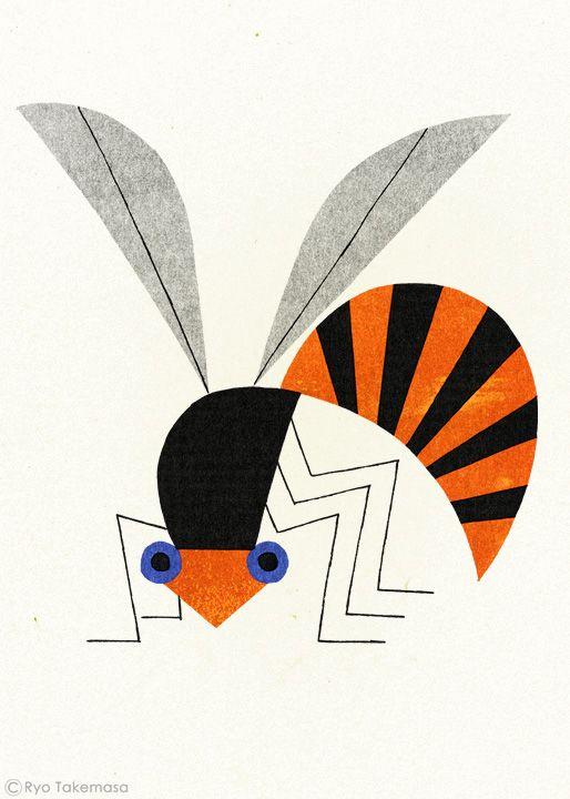 武政 諒 Ryo Takemasa   illustration of a bee