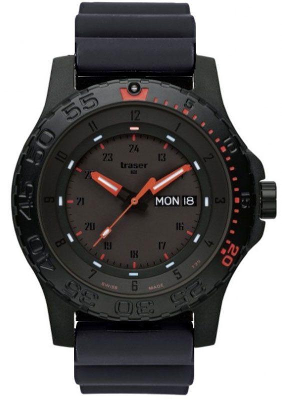 Traser H3 reloj P 6600 Combate de goma roja