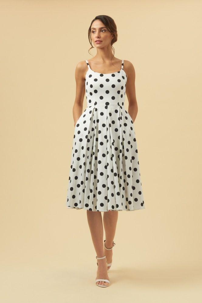 5443737f03 Priscilla Black   White Polka Dot Midi Dress