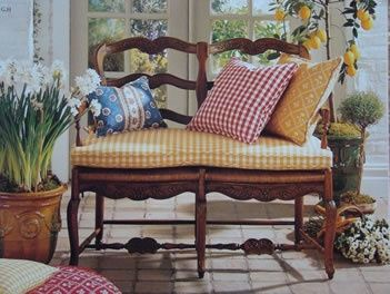 french country bench with rush seat little house in