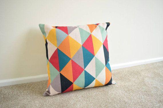 Multi Coloured Geometric/Scandinavian Cotton Linen Cushion/Pillow Cover 18 x 18""