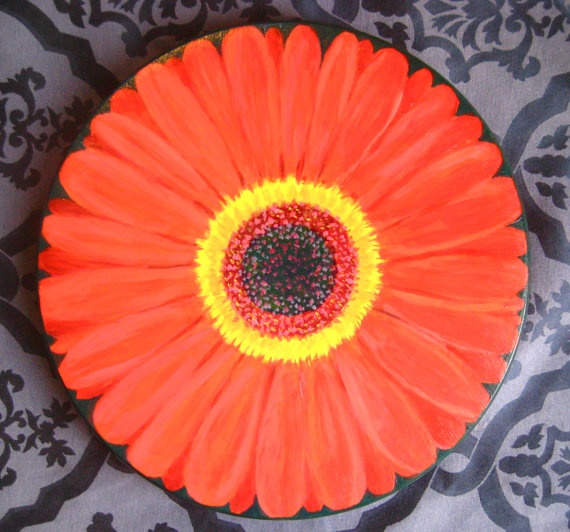 Hand Painted Lazy Susan Red Gerber Daisy 15 Inch by JaneSuzanne, $120.00
