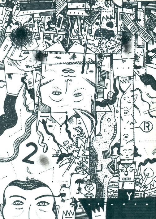 Dibujo expansivo A02-01-2012. Tinta sobre papel obra 90 grs. Fto. A4.