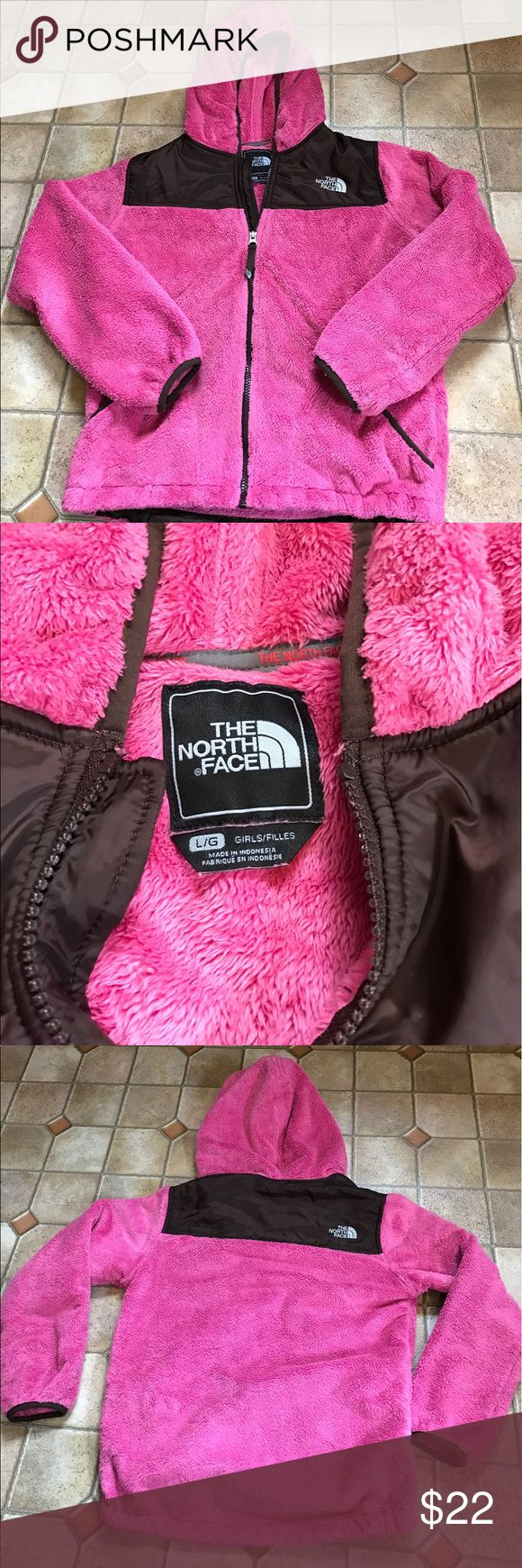 Girls north face full zip up jacket Large 12-14 Girls north face soft fuzzy full zip up jacket size Large. Fits sizes 12-14. Sweater is pink and brown in color, excellent used condition- no rips/stains etc. The North Face Jackets & Coats