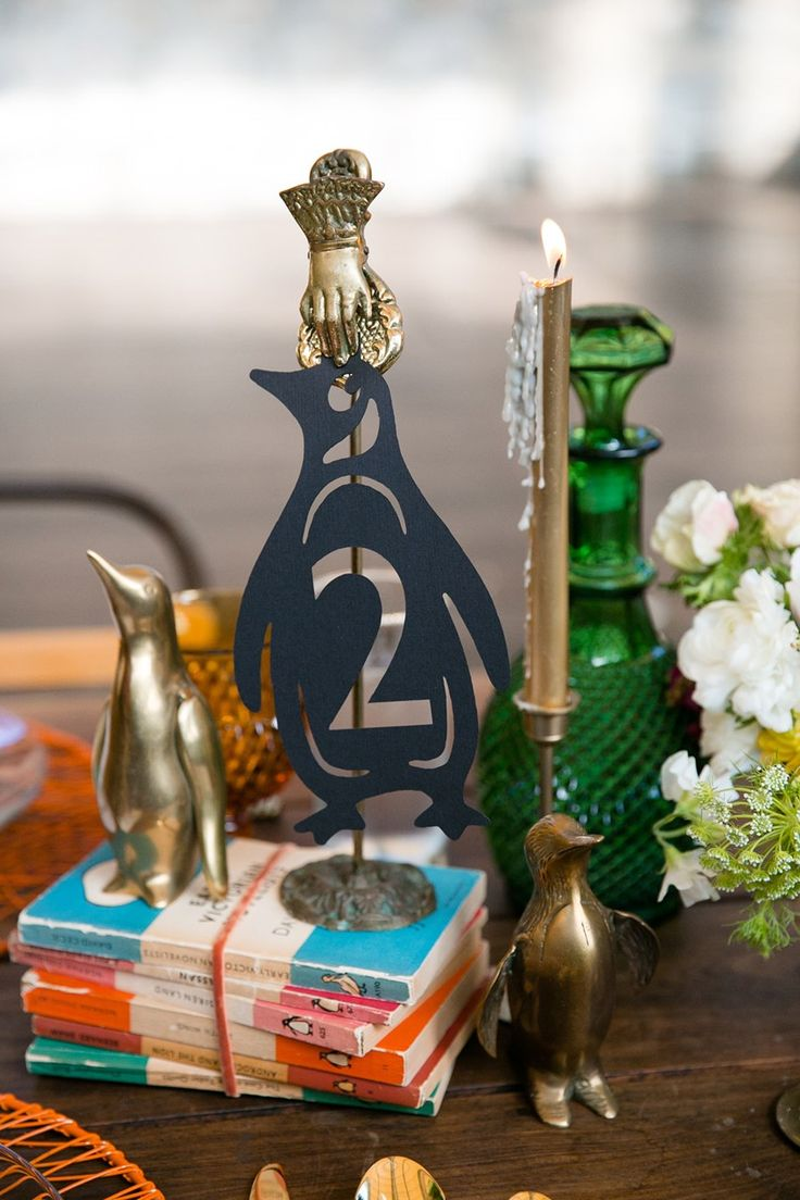 Penguin Table Numbers - Literary Love – A Bright and Quirky Mid-Century Vintage Wedding Shoot Inspired by Penguin Books