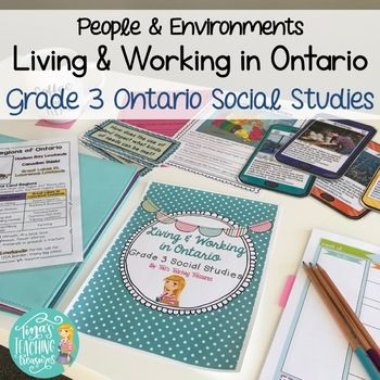 "Grade 3 Social Studies for NEW Ontario Curriculum:  Living and Working in Ontario This product includes activities about Land Regions, Land use, Municipalities, specialized communities, Employment and more!  2 'projects' are included- one research and one application of skill.  All activities coincide with the ""big ideas"" and ""framing questions"" of the new curriculum (posters and writing prompts of these also included). ..."