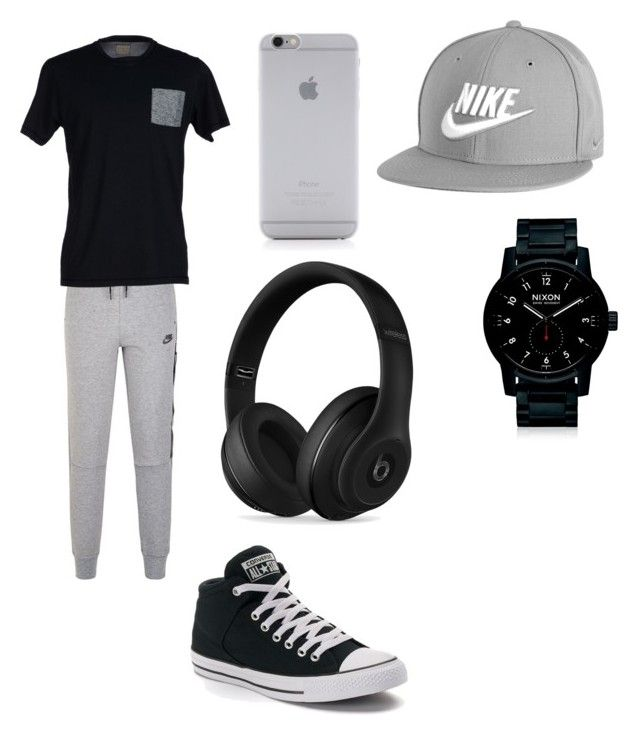 """""""Black and Grey  ootd"""" by jaraujo3 on Polyvore featuring NIKE, SELECTED, Converse, Nixon, Native Union, Beats by Dr. Dre, men's fashion and menswear"""