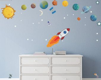 Solar System Decals  Planets with Names Wall Stickers
