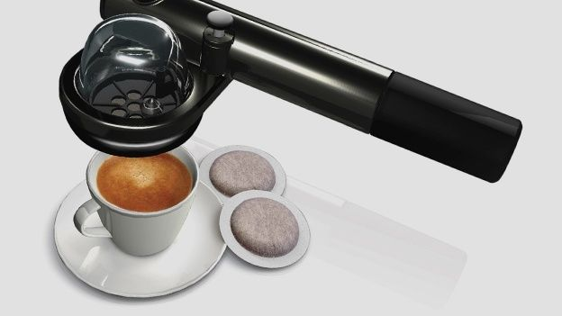 Simply pump to create pressure, add some hot water and an E.S.E coffee pod, available from most supermarkets, and presto. Espresso