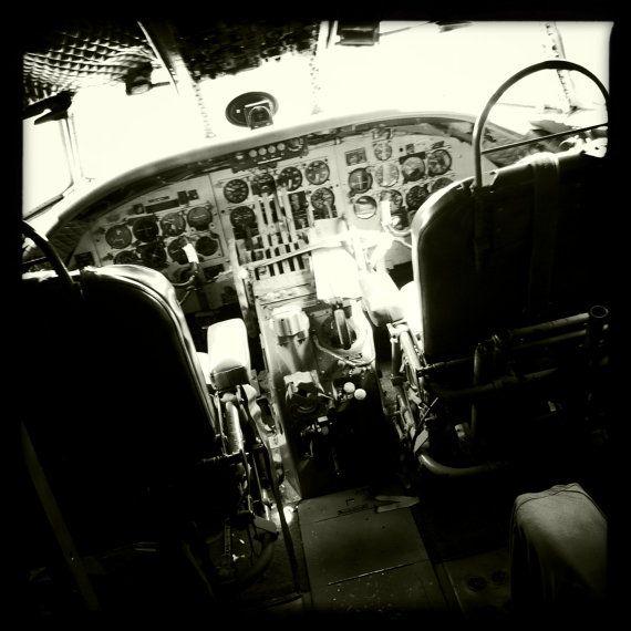 Vintage World War II Airplane Cockpit Aviation Art by Imagista, $45.00