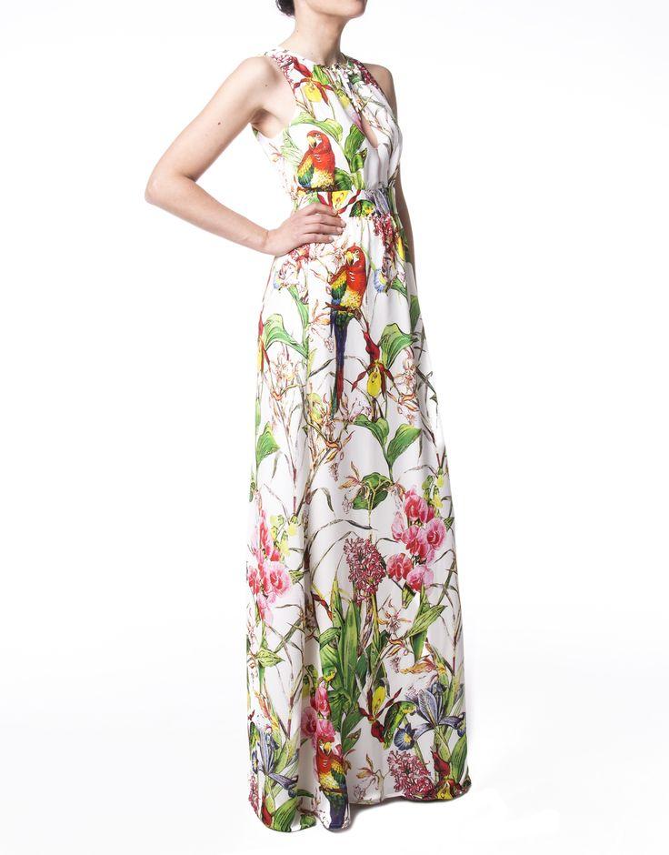 Vestido largo estampado loros - Mujer | Roberto Verino
