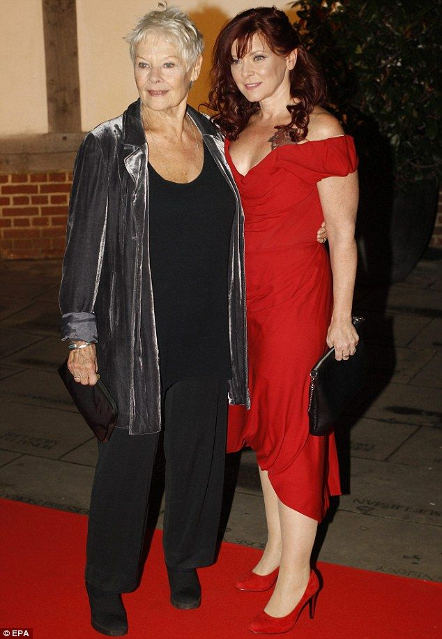 Family: Judi Dench and daughter Finty Williams arrive for a gala dinner at Shakespeare's Globe theater on Thursday