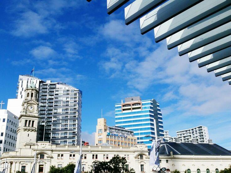 Those striking aluminium fins framing a stunning Auckland day