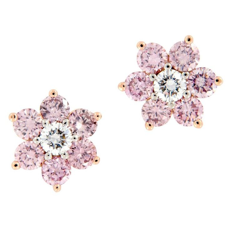 Alan Friedman Pink Diamond Floral Cluster Gold Platinum Earrings | From a unique collection of vintage stud earrings at https://www.1stdibs.com/jewelry/earrings/stud-earrings/