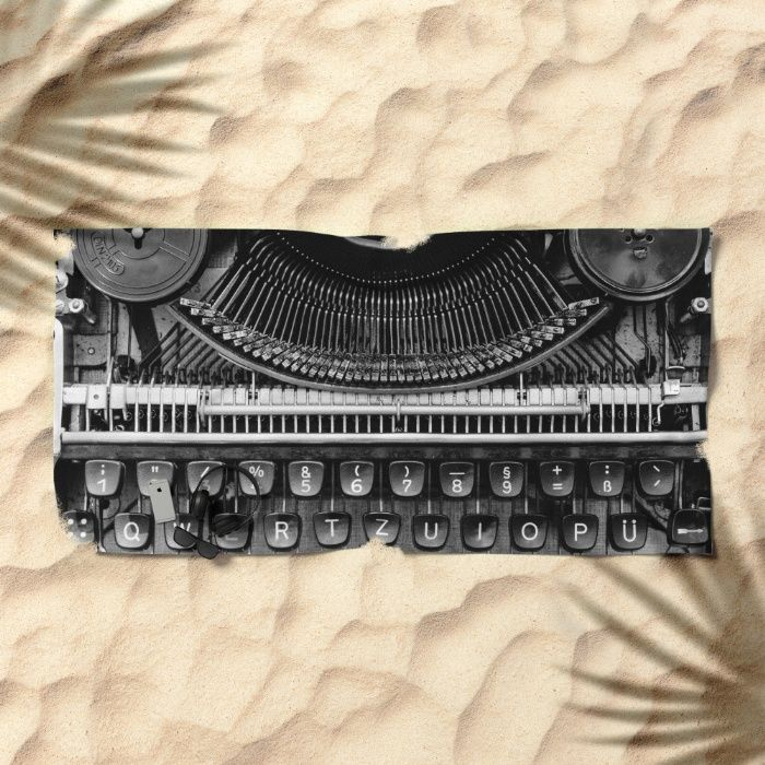 Typewriter Beach Towel by Mixed Imagery | Society6
