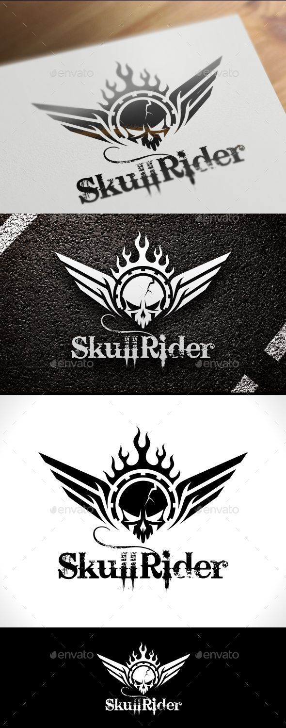 Skull Rider Logo Template — Vector EPS #game studio #club • Available here → https://graphicriver.net/item/skull-rider-logo-template/10434713?ref=pxcr
