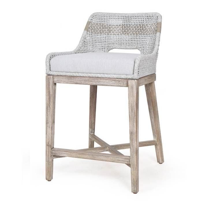 Counter Stool Taupe White Flat Rope, Orient Express Furniture Bar Stools