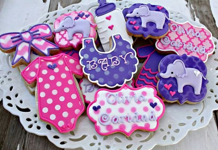 Pink U0026 Purple Elephant Baby Shower Cookies | Mrs. Beardu0027s Bake Shop |  Pinterest | Baby Shower Cookies, Elephant Baby Showers And Elephant Baby