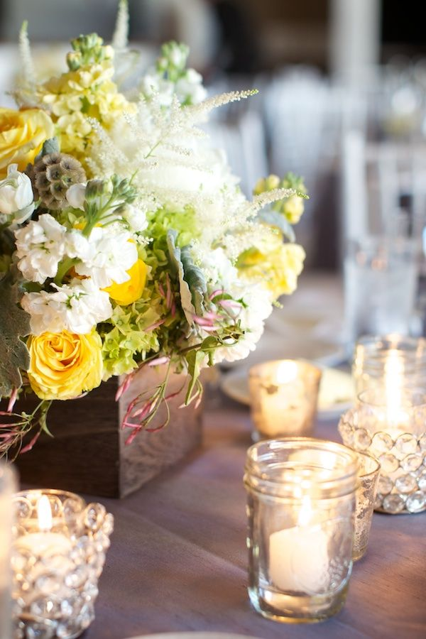 70 best yellow white green centerpieces images on pinterest yellow photo by simply photography lush rustic yellow white wedding centerpiece junglespirit Image collections
