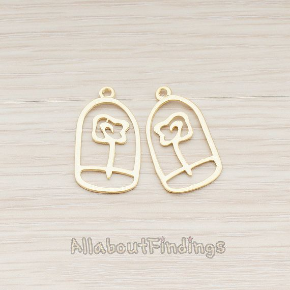 PDT451-MG // Matte Gold Plated Beauty and the by AllaboutFindings