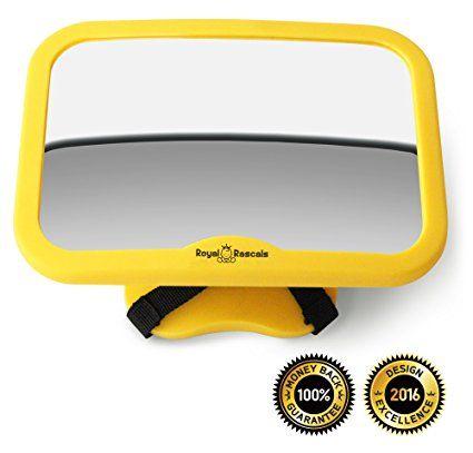 ROYAL RASCALS | Espejo para vigilar al bebé en el coche | El espejo retrovisor nº1 MÁS SEGURO para los asientos de niños orientados hacia atrás | AMARILLO DE SEGURIDAD | Se adapta a cualquier resposacabezas ajustable | Función de inclinación y giro | 100% inastillable | PRODUCTO DE SEGURIDAD PREMIUM | Señal de Baby on Board GRATIS
